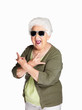 Mature woman wearing sunglasses and doing funky action