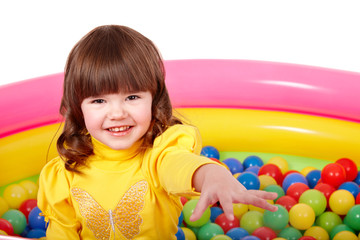 Child in group of colourful ball.