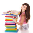 Girl with pile colored book. Isolated.