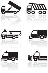 Truck or van symbol vector set.