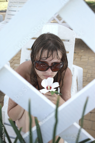 girl has control over a flower