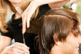 Fototapety Man at the hairdresser