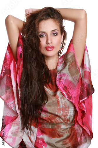 Charming, glamour brunette with long hair