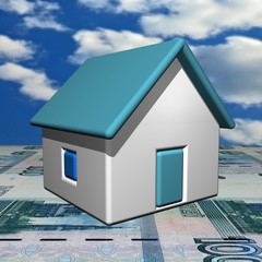 The small one-storeyed house, 3d, a Ruble background.