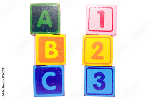 abc 123 in toy play block letters with clipping path on white