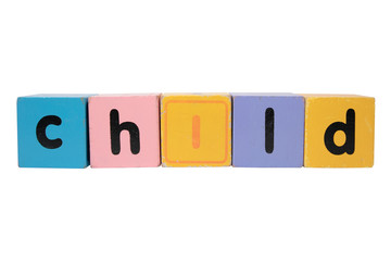 child in toy play block letters with clipping path on white