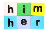 her him in play block letters with clipping path