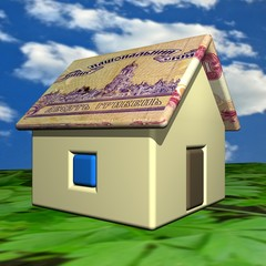 The small one-storeyed house in the Ukrainian grivnas, 3d.