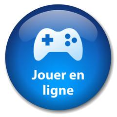 Bouton Web JOUER EN LIGNE (arcade manette jeux vidéo jeu réseau)