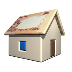 The small one-storeyed house in the Indian currency, 3d