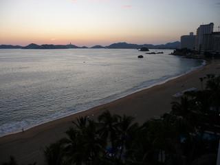 soleil couchant baie acapulco Mexique