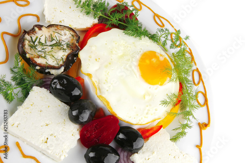 egg served on white plate