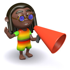 Rastafarian speaking through megaphone