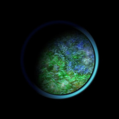 3d blue-green planet with atmosphere