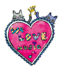 we love music pink and pretty cats