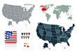 USA symbols vector set