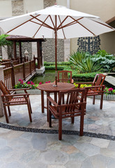 patio with table and chair