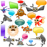 marine life cartoon character set 2 poster