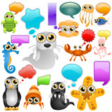 marine life cartoon character set poster