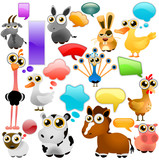 farm animal cartoon set poster