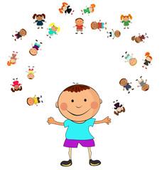 vector happy kids