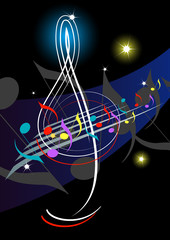 Treble clef-Night music