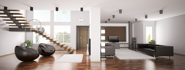 Apartment interior panorama 3d