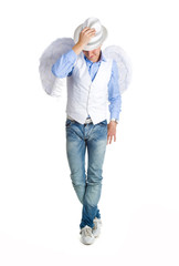 Guy in image of angel with white wings