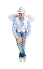 Stylish man in image of  angel posing on white