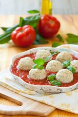 Chicken meatballs and tomato sauce