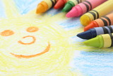 Childlike drawing of the sun and sky with crayons poster
