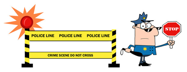 Yellow Police Line And Traffic Police Officer