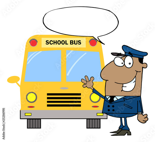 African American Driver Waving In Front of School Bus