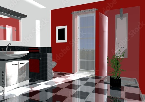 badezimmer rot von magda fischer lizenzfreies foto. Black Bedroom Furniture Sets. Home Design Ideas