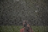 Names of Vietnam war casualties on War Veterans Memorial poster