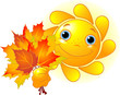 Sun with autumn leaves