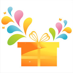 gift with colorful splash