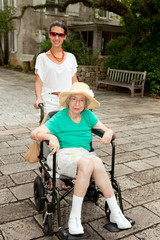 Handicapped Grandmother and Granddaughter