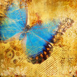 Quadro golden abstraction with blue butterfly