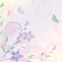 Floral background with abstract plants