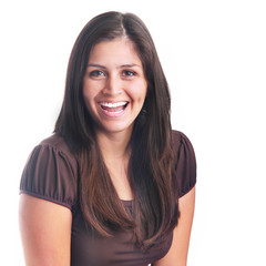 Attractive young woman laughing portrait isolated