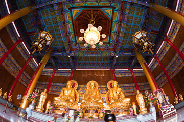 Super Wide Angle of three golden buddha