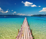 Fototapety Wooden pier in tropical paradise