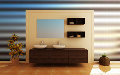 Modern interior of a bathroom