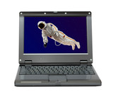 small laptop with astronaut in space poster