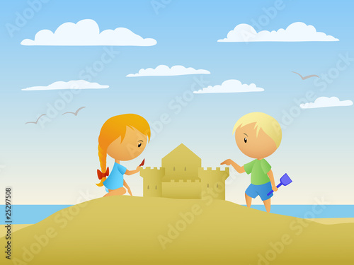 Girl and boy make a sand castle