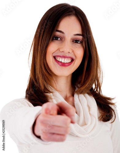 young lady pointing at you