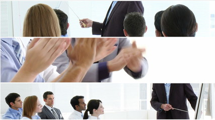 collage of three business presentations