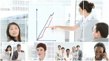 montage of powerful businesswoman
