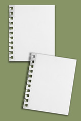 Two blank paper sheets with ripped holes and shadows